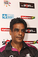 Faisalabad Wolves coach Naveed Anjum during the Faisalabad Wolves team arrival press conference prior to the start of the Karbonn Smart CLT20 2013 held at the JW Marriott Hotel in Mohali on the 15th September 2013<br /> <br /> Photo by Shaun Roy-CLT20-SPORTZPICS <br /> <br /> Use of this image is subject to the terms and conditions as outlined by the BCCI. These terms can be found by following this link:<br /> <br /> http://www.sportzpics.co.za/image/I0000SoRagM2cIEc