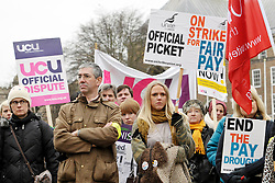 © Licensed to London News Pictures. 03/12/2013; Bristol, UK.  Further and Higher Education staff are on strike nationally calling for pay. Union members met for a rally on College Green in Bristol. 03 December 2013.<br /> Photo credit : Simon Chapman/LNP