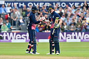 50 for Ben Stokes - Ben Stokes of England celebrates scoring a half century and is congratulated by Joe Root of England during the One Day International match between England and West Indies at the Brightside County Ground, Bristol, United Kingdom on 24 September 2017. Photo by Graham Hunt.