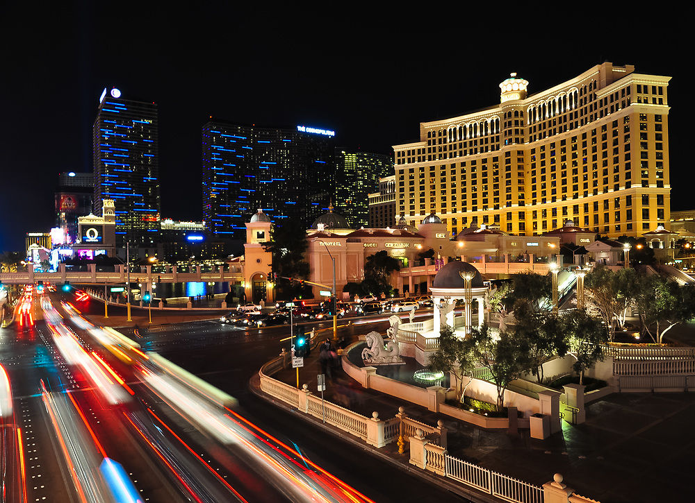 This picture shows the Las Vegas strip at night time.<br />