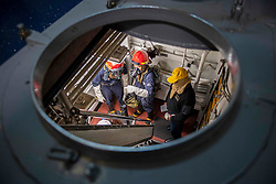 March 25, 2019 - Pacific Ocean - Sailors assigned to the amphibious assault ship  investigate a space during a general quarters drill in the Pacific Ocean, March 25, 2019. Boxer is underway conducting routine operations as a part of the Boxer Amphibious Ready Group in the eastern Pacific Ocean. (Credit Image: ? U.S. Navy/ZUMA Wire/ZUMAPRESS.com)