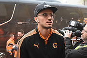Wolverhampton Wanderers midfielder Romain Saiss (27) arrives during the EFL Sky Bet Championship match between Wolverhampton Wanderers and Sheffield Wednesday at Molineux, Wolverhampton, England on 29 April 2018. Picture by Alan Franklin.