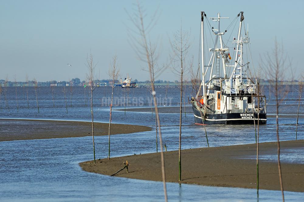 Krabbenkutter fährt aus dem Hafen von Wrementief hinaus auf die Nordsee