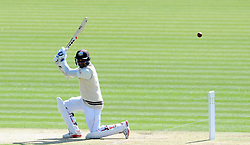 Surrey's Kumar Sangakkara cuts the ball off the bowling of Glamorgan's Graham Wagg. - Photo mandatory by-line: Harry Trump/JMP - Mobile: 07966 386802 - 20/04/15 - SPORT - CRICKET - LVCC County Championship - Division 2 - Day 2 - Glamorgan v Surrey - Swalec Stadium, Cardiff, Wales.