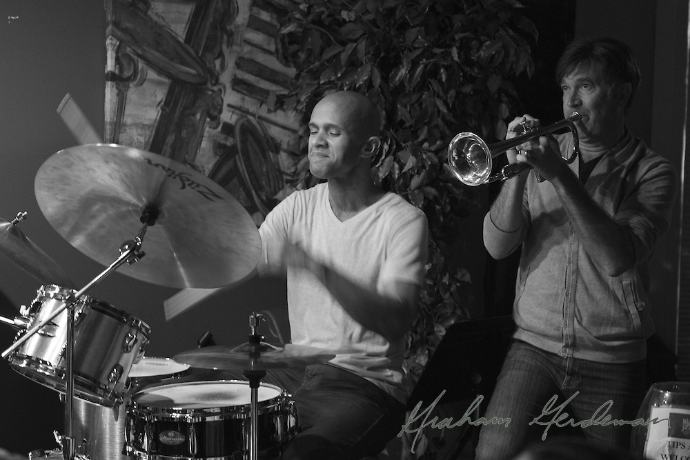 Drummer Marcus Finnie performing with trumpeter Rick Braun live at Nine48Jazz in Nashville, TN