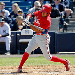 March 4, 2012; Tampa Bay, FL, USA; Philadelphia Phillies right fielder Tyson Gillies (64) against the New York Yankees during spring training game at George M. Steinbrenner Field. Mandatory Credit: Derick E. Hingle-US PRESSWIRE