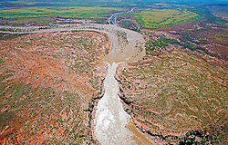 Aerial view of the Fitzroy River in flood.