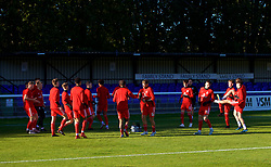 BANGOR, WALES - Monday, October 15, 2018: Wales players during the pre-match warm-up before the UEFA Under-19 International Friendly match between Wales and Poland at the VSM Bangor Stadium. (Pic by Paul Greenwood/Propaganda)