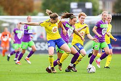 Ella Rutherford of Bristol City is challenged by Kerys Harrop of Birmingham City Women and Aoife Mannion of Birmingham City Women - Mandatory by-line: Ryan Hiscott/JMP - 14/10/2018 - FOOTBALL - Stoke Gifford Stadium - Bristol, England - Bristol City Women v Birmingham City Women - FA Women's Super League 1