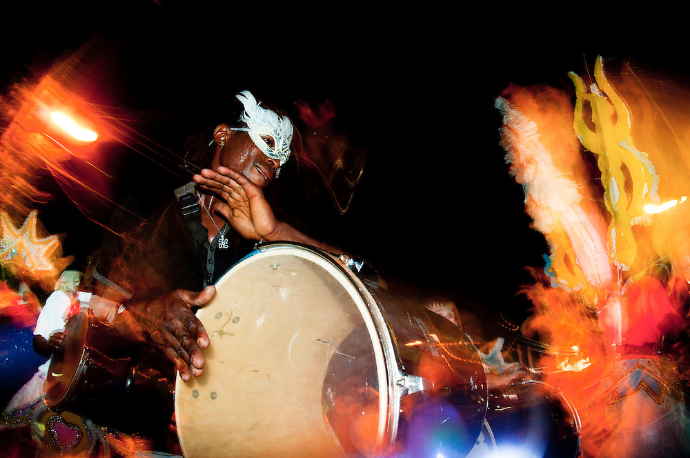 Man playing drums at annual junkanoo festival on Harbour Island, Bahamas