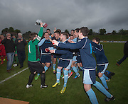 FC Kettledrum celebrate with the George McArthur memorial cup after beating Hawkhill Athletic 4-3 in the final - FC Kettledrum (blue) v Hawkhill Athletic (red), George McArthur memorial cup final at Glenesk.<br /> <br />  - &copy; David Young - www.davidyoungphoto.co.uk - email: davidyoungphoto@gmail.com