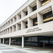 The exterior of the LBJ School of Public Affairs at the University of Texas in Austin, TX. The LBJ Library and Museum (LBJ Presidnetial Library) is one of the 13 presidential libraries administered by the National Archives and Records Administration. It houses historical documents from Lyndon Johnson's presidency and political life as well as a museum.