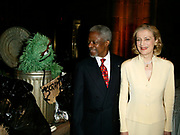 NEW YORK - June 4: [US TABS AND HOLLYWOOD REPORTER OUT] Muppet Oscar The Grouch, UN Secretary General Kofi Annan and wife Nani Annan attend the Sesame Street Workshop 35th Anniversary Gala at Cipriani June 4, 2003 in New York City.   (Photo by Matthew Peyton)