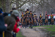 Galloping into Green park. On the 100th anniversary of women getting the vote, Kings troop is led by female officers and has a high proportion of female troopers - The King's Troop Royal Horse Artillery, ride their horses and gun carriages past Buckingham Palace to Green Park to stage a 41 Gun Royal Salute to mark the 66th Anniversary of the Accession of Her Majesty The Queen.