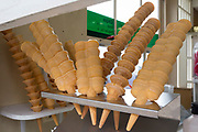Ice cream cones on sale at a cafe in Old Leigh, on 10th September 2019, in Leigh-on-Sea, Essex, England.