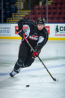 KELOWNA, CANADA - OCTOBER 20: Clay Hanus #58 of the Portland Winterhawks skates during morning practice at the Kelowna Rockets on October 20, 2017 at Prospera Place in Kelowna, British Columbia, Canada.  (Photo by Marissa Baecker/Shoot the Breeze)  *** Local Caption ***