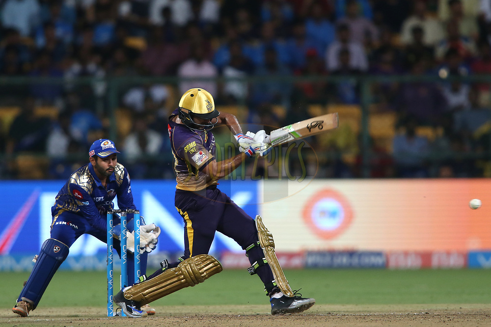 Ishank Jaggi of the Kolkata Knight Riders pulls a delivery through the leg side during the 2nd qualifier match of the Vivo 2017 Indian Premier League between the Mumbai Indians and the Kolkata Knight Riders held at the M.Chinnaswamy Stadium in Bangalore, India on the 19th May 2017<br /> <br /> Photo by Shaun Roy - Sportzpics - IPL