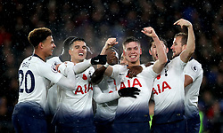 """Tottenham Hotspur's Juan Foyth (centre) celebrates scoring his side's first goal of the game with team-mates during the Premier League match at Selhurst Park, London. PRESS ASSOCIATION Photo. Picture date: Saturday November 10, 2018. See PA story SOCCER Palace. Photo credit should read: John Walton/PA Wire. RESTRICTIONS: EDITORIAL USE ONLY No use with unauthorised audio, video, data, fixture lists, club/league logos or """"live"""" services. Online in-match use limited to 120 images, no video emulation. No use in betting, games or single club/league/player publications."""