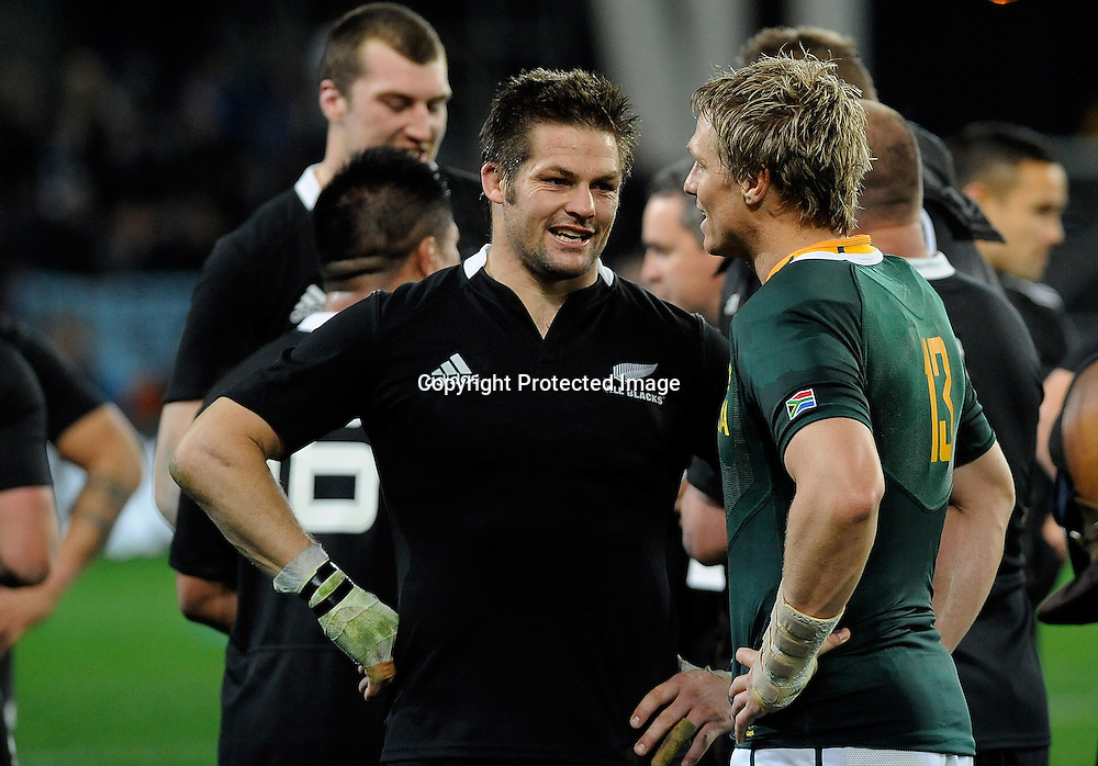 (C) Richie McCaw & (C) Jean De Villers talk after the match The Rugby Championship test match, New Zealand All Blacks versus South Africa Springboks at Forsyth Barr Stadium, Dunedin, New Zealand. Saturday 15 September 2012. New Zealand. Photo: ©Richard Hood/photosport.co.nz