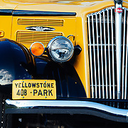 One of the classic Yellowstone tour coaches near Pebble Creek in search of wolves.