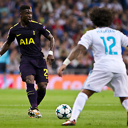 Serge Aurier of Tottenham Hotspur in action during Uefa Champions League (Group H) match between Real Madrid and Tottenham Hotspur at Santiago Bernabeu Stadium on October 17, 2017 in Madrid  (Spain) (Photo by Luis de la Mata / SportPix.org.uk)