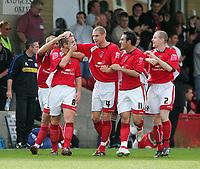 Photo: Andrew Unwin.<br />Accrington Stanley v Wycombe Wanderers. Coca Cola League 2. 30/09/2006.<br />Accrington Stanley's Ian Craney (#8) is congratulated on his goal.