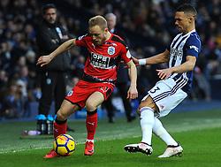 Kieran Gibbs of West Bromwich Albion competes with Alex Pritchard of Huddersfield Town- Mandatory by-line: Nizaam Jones/JMP - 24/02/2018 - FOOTBALL - The Hawthorns - West Bromwich, England - West Bromwich Albion v Huddersfield Town- Premier League