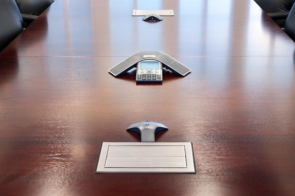 Board room table with audio conferencing equipment, intalled by Teatrx