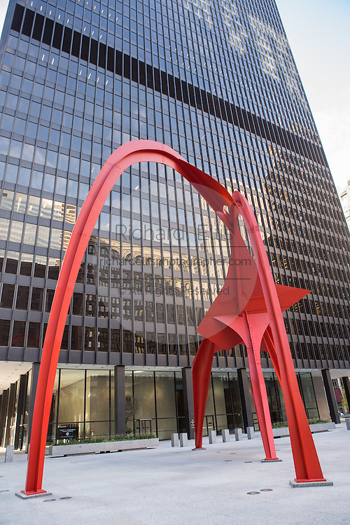 Flamingo abstract art sculpture by Alexander Calder outside the Kluczynski Federal Building Chicago, IL.