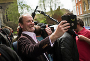 Ukip's Douglas Carswell takes  a selfie on walkabouts in Sandwich, 5th May 2015.