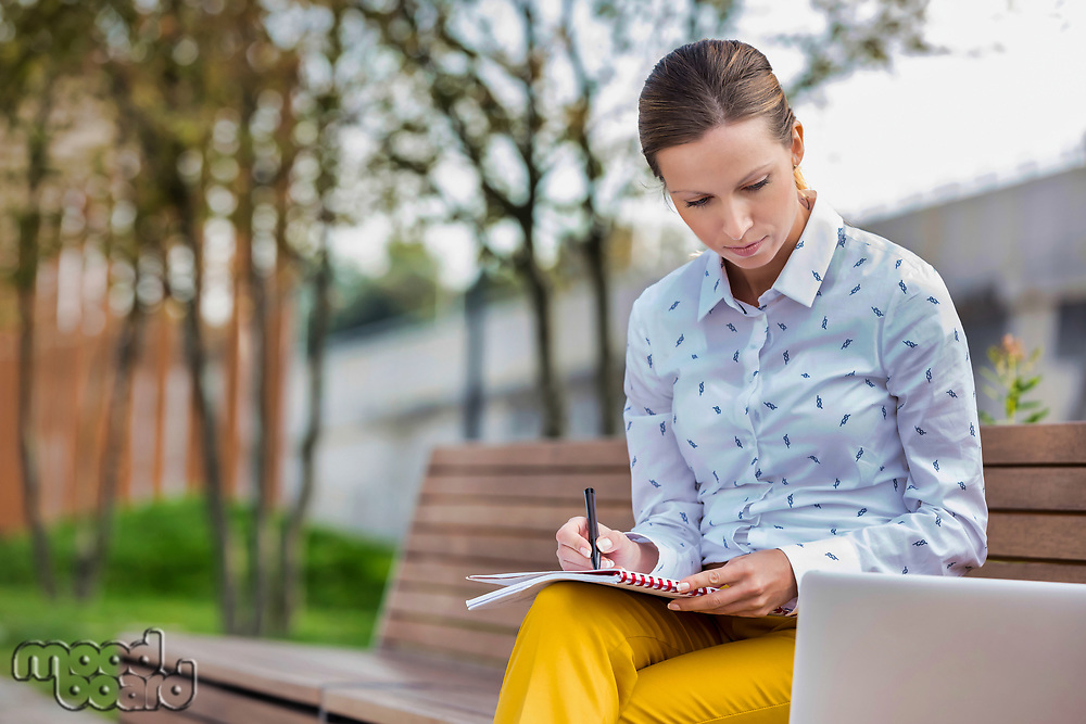 Portrait of young attractive businesswoman writing note and looking on laptop while sitting on bench