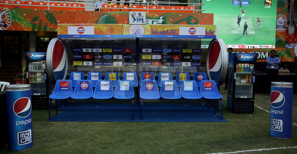 Chennai Superkings Players Dugout during the eliminator match of the Pepsi Indian Premier League Season 2014 between the Chennai Superkings and the Mumbai Indians held at the Brabourne Stadium, Mumbai, India on the 28th May  2014<br /> <br /> Photo by Sandeep Shetty / IPL / SPORTZPICS<br /> <br /> <br /> <br /> Image use subject to terms and conditions which can be found here:  http://sportzpics.photoshelter.com/gallery/Pepsi-IPL-Image-terms-and-conditions/G00004VW1IVJ.gB0/C0000TScjhBM6ikg
