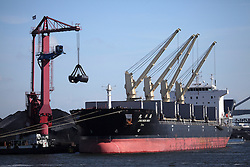 NETHERLANDS AMSTERDAM 11MAY11 - A bulk carrier is unloaded of its cargo of coal at the port of Amsterdam, Netherlands...Photo by Jiri Rezac