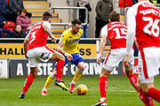 Leeds United midfielder Jack Harrison (22), on loan from Manchester City,  gets a shot in on goal during the EFL Sky Bet Championship match between Rotherham United and Leeds United at the AESSEAL New York Stadium, Rotherham, England on 26 January 2019.