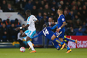 Newcastle United midfielder Moussa Sissoko (7)  gets past Leicester City midfielder NGolo Kante (14)  during the Barclays Premier League match between Leicester City and Newcastle United at the King Power Stadium, Leicester, England on 14 March 2016. Photo by Simon Davies.