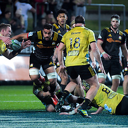 Liam Messam in action during the Super Rugby match between the Chiefs and Hurricanes at FMG Stadium in Hamilton, New Zealand on Friday, 13 July 2018. Photo: Dave Lintott / lintottphoto.co.nz