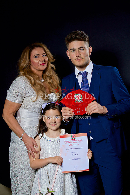 NEWPORT, WALES - Saturday, May 27, 2017: Scott Reed and family with his Under-16 Wales cap at the Celtic Manor Resort. (Pic by David Rawcliffe/Propaganda)