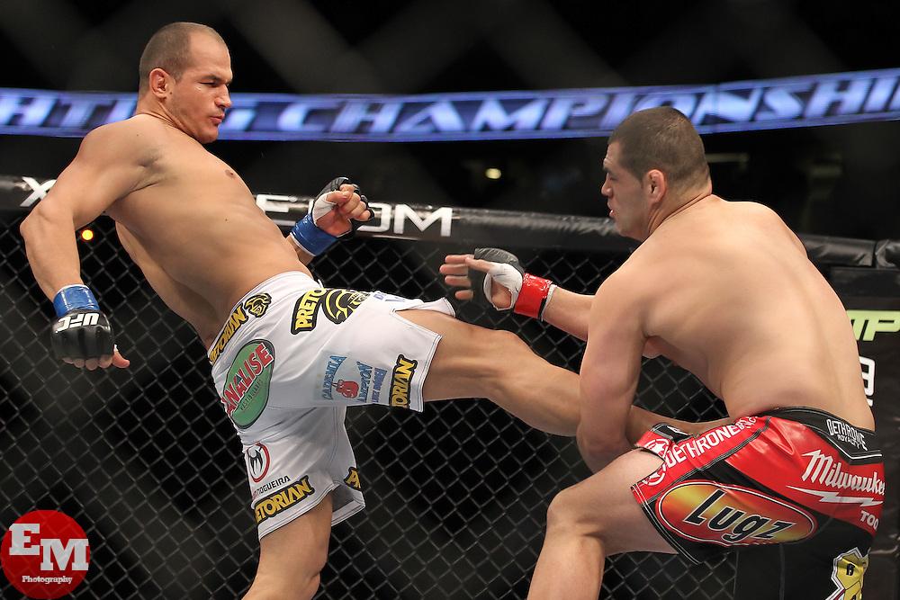 November 12, 2011; Anaheim, CA; USA; UFC Heavyweight Champion Cain Velasquez (red trunks) and Junior Dos Santos (white trunks) during their fight at UFC on FOX in Anaheim, CA.