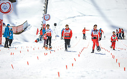17.03.2017, Ramsau am Dachstein, AUT, Special Olympics 2017, Wintergames, Schneeschuhlauf, Divisioning 100 m, im Bild fünf Athletinnen // five athletes during the Snowshoeing Divisioning 100 m at the Special Olympics World Winter Games Austria 2017 in Ramsau am Dachstein, Austria on 2017/03/17. EXPA Pictures © 2017, PhotoCredit: EXPA / Martin Huber