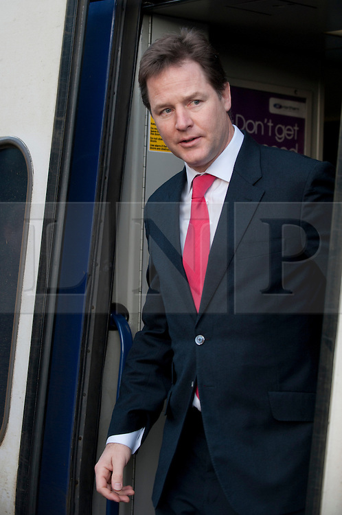 © Licensed to London News Pictures. 28/01/2013. Sheffield, UK. The deputy Prime Minster, Nick Clegg is at Meadowhall transport interchange, Sheffield to discuss the HS2 high speed rail route. Photo credit : David Mirzoeff/LNP