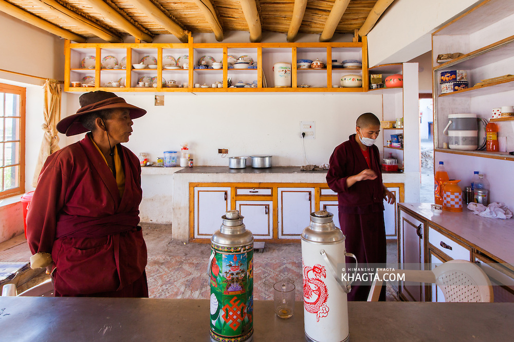 Pictures from Shey, Ladakh. Shey was the ancient capital of Ladakh, a Himalayan desert region in the North of India. Picture of the buddhist nuns in Druk Gompa