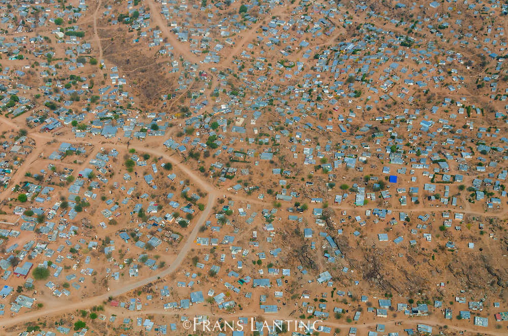 Shanty towns on edge of Windhoek (aerial), Namibia