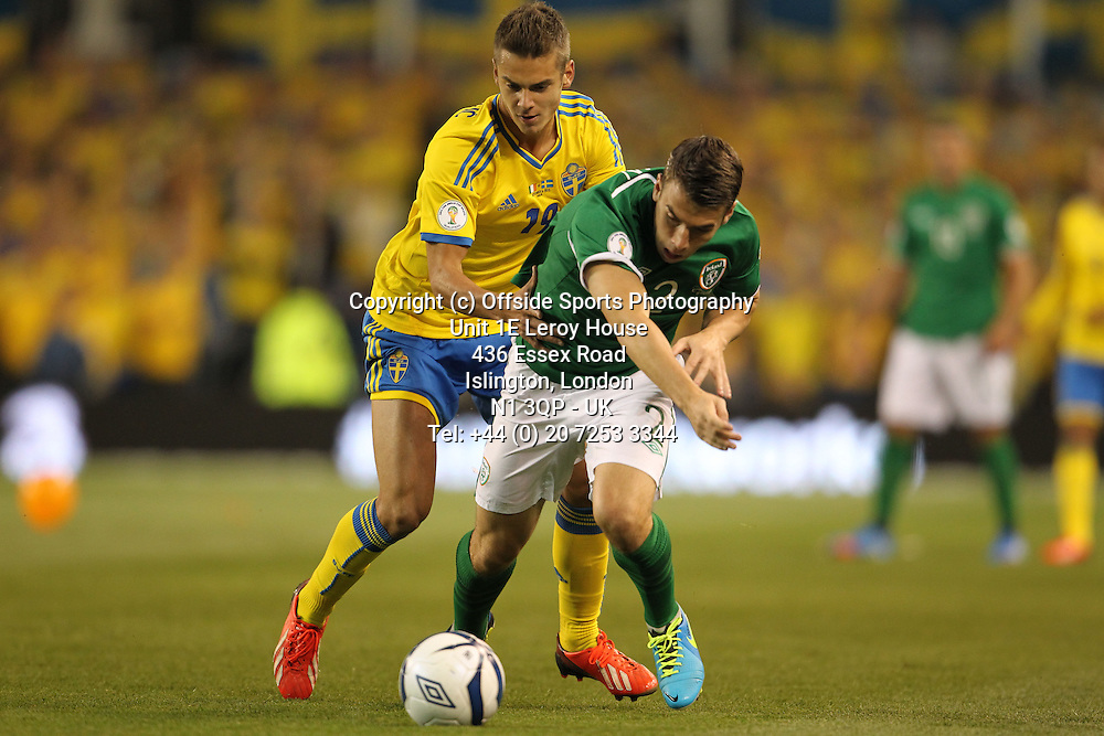 06/09/2013 FIFA 2014 World Cup Qualifying - Group C . Rep of Ireland v Sweden<br /> Alexander Kacaniklic and Seamus Coleman<br /> Photo: John Halas