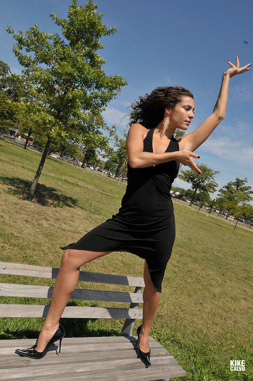An italian descent actress and dancer in Flushing Meadow Park in Queens.