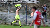 Fotball <br /> Adeccoligaen<br /> Briskeby Gressbane <br /> 08.05.11<br /> HamKam  v  Bryne  1-2<br /> Foto: Dagfinn Limoseth, Digitalsport<br /> Keeper Anders Kristiansen , Bryne  feirer på sin måte