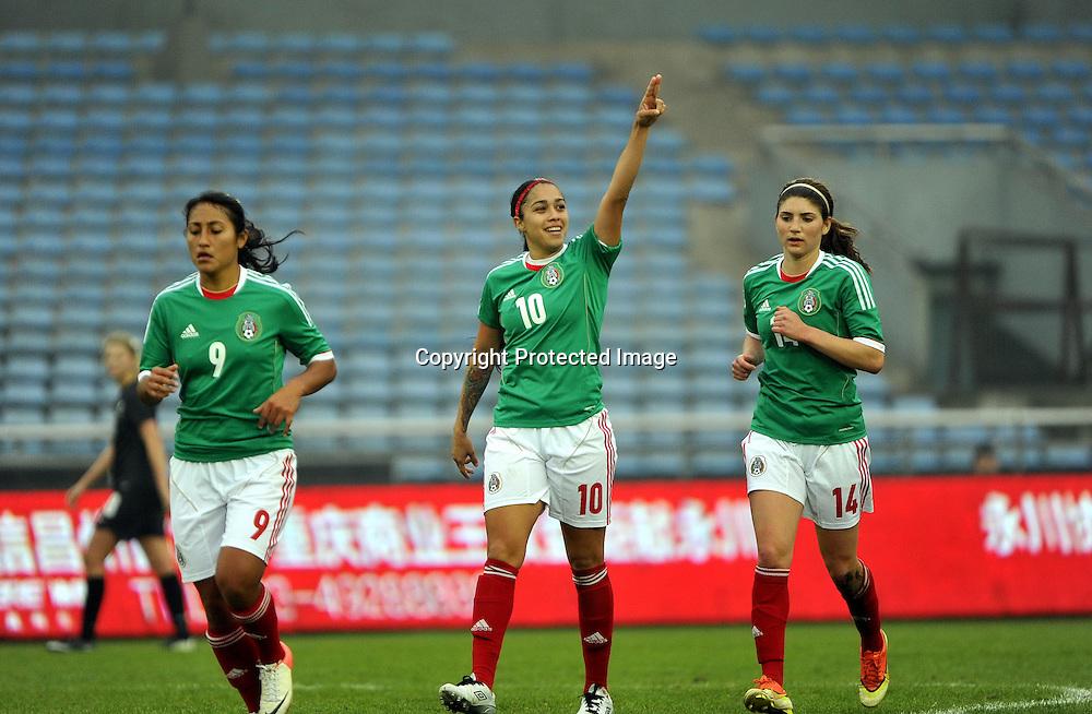 Feb 15, 2014; Yongchuan, CHINA; Mexico defeats New Zealand 2:1 during a match at the 2014 Yongchuan International Women's Football Tournament.