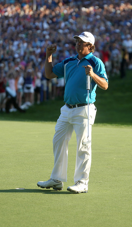 Jason DUFNER (USA) celebrates winning his first major at 18th during fourth round US PGA Championship 2013,Oak Hill CC,