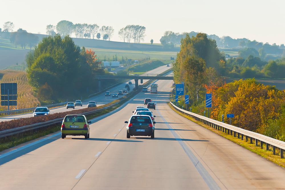 Autobahn (highway) near Leipzig, Saxony, Germany