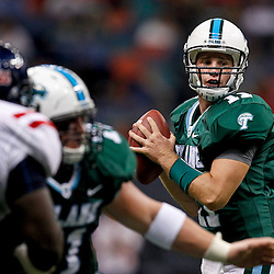 Sep 11, 2010; New Orleans, LA, USA; Tulane Green Wave quarterback Ryan Griffin (11) looks to pass against the Mississippi Rebels during the first half at the Louisiana Superdome.  Mandatory Credit: Derick E. Hingle