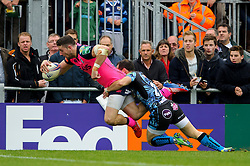 Cardiff Blues Winger (#14) Alex Cuthbert scores a try during the second half of the match - Photo mandatory by-line: Rogan Thomson/JMP - Tel: 07966 386802 - 13/10/2013 - SPORT - RUGBY UNION - Sandy Park, Exeter - Exeter Chiefs v Cardiff Blues - Heineken Cup Round 1.